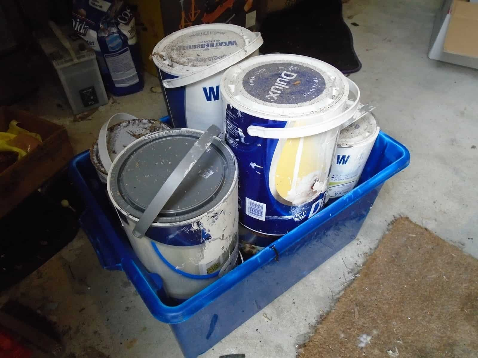 Paints can ready to take the rubbish tip