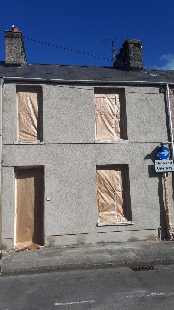 Porthmadog front of house repaired before wall coating