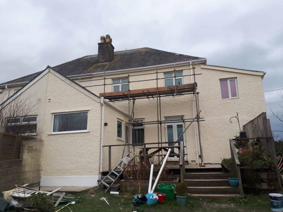 Rear of house in Perranporth with an exterior wall coating