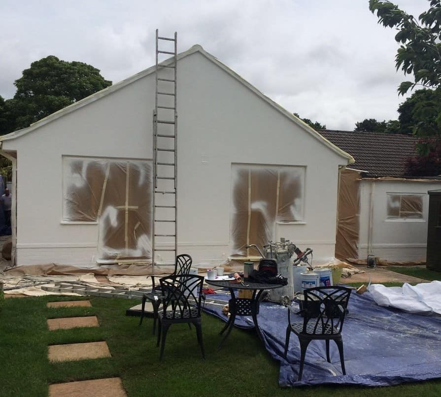 A house in Dorset having the walls sprayed with a resin textured wall coating