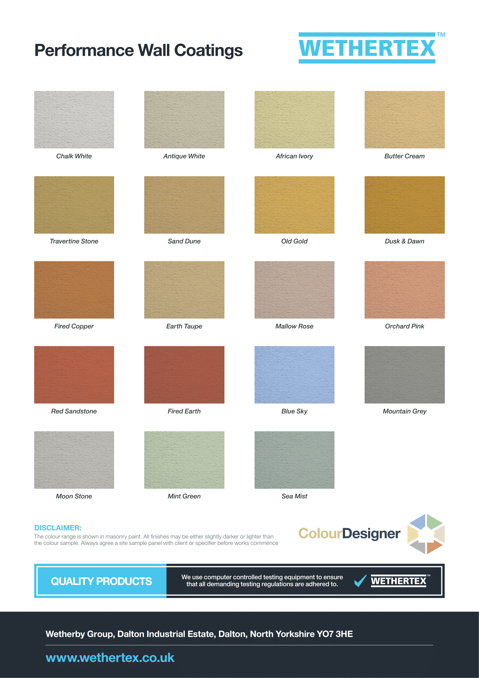 The wall coating colours in the Wethertex and Never Paint Again wall coating range