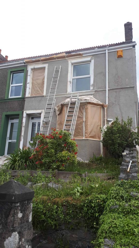 an end terrace in Liskeard before exterior house painting