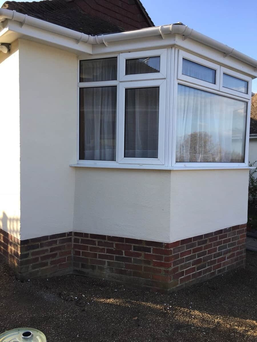 corner of gatwick bungalow after wall coating