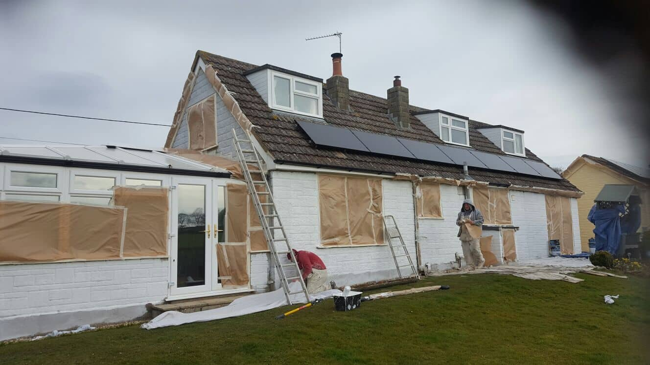 A picture of us working on this bungalow in Dorset