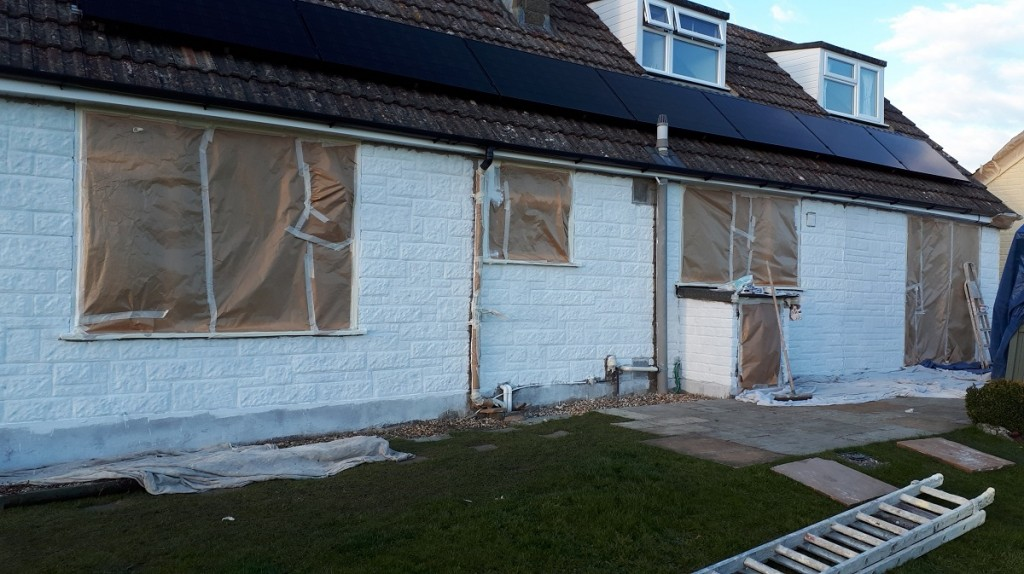 Rear of house in Dorset ready for wall coating