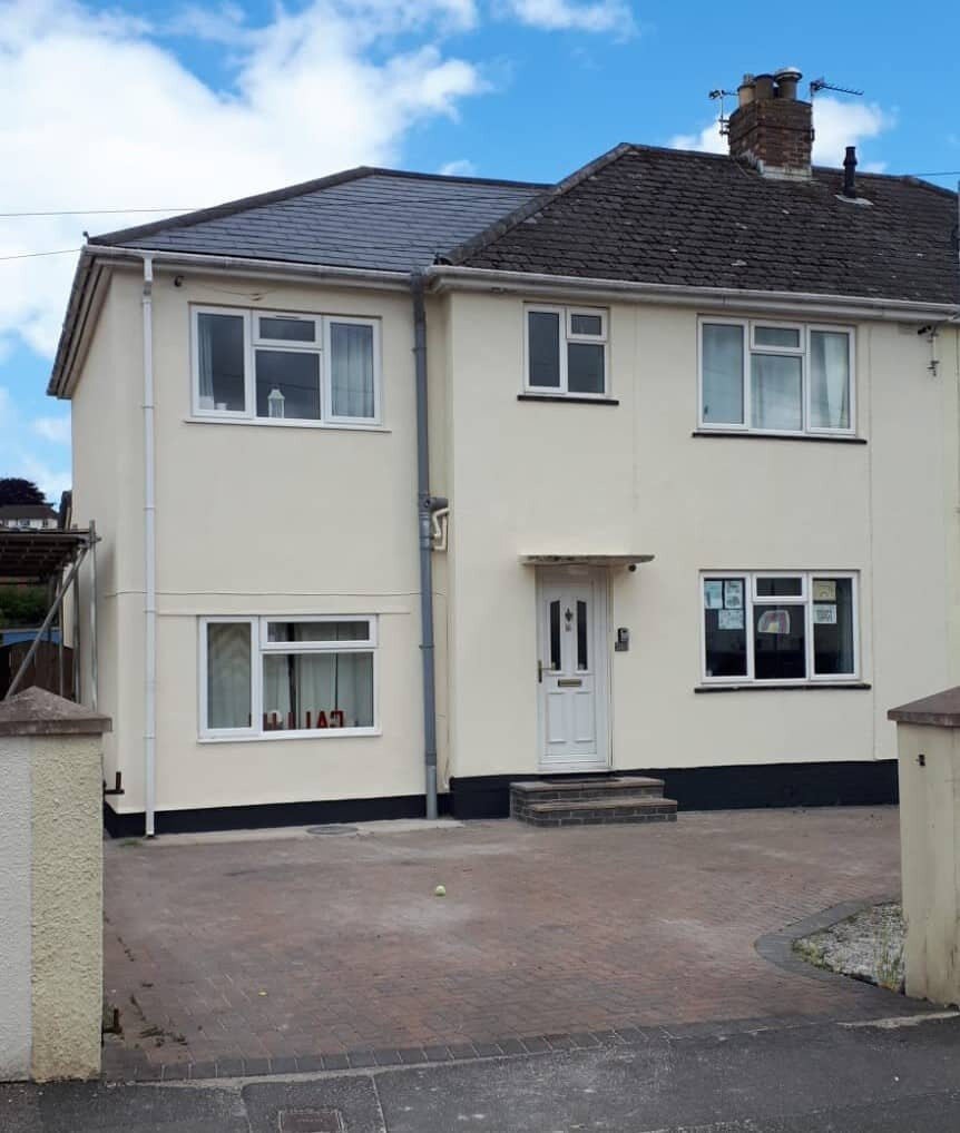exterior wall coatings newton abbot front of house afterwards