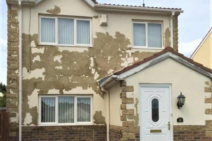 flaking paint cured with a wall coating