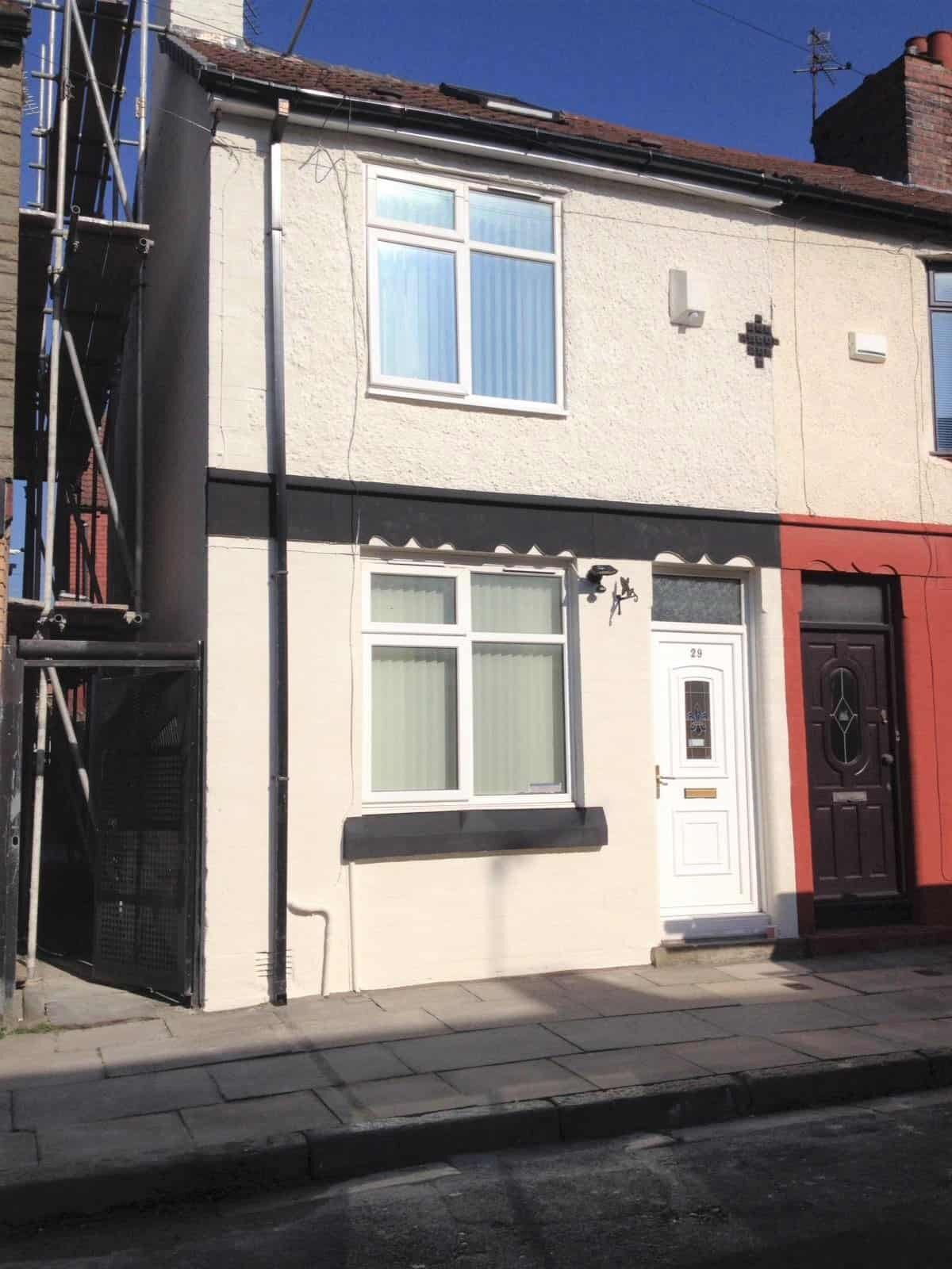 front of Liverpool house with exterior textured wall coating-min