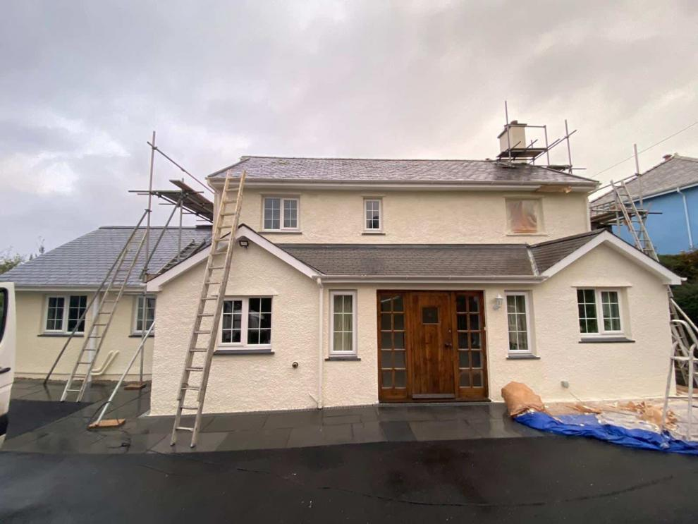 front of house having new paint