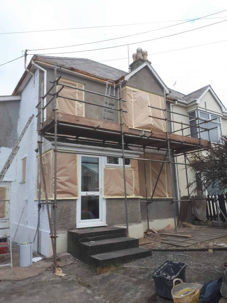 front of house in Perranporth after repair work-min