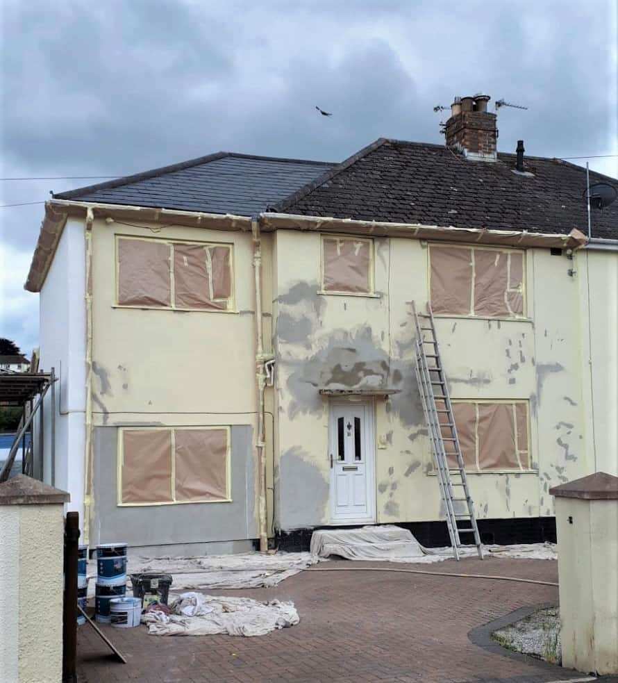 front of house in newton abbot before wall coating