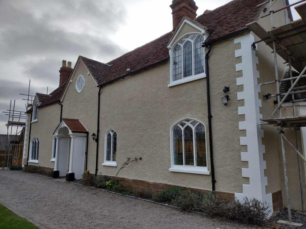 front of wootton grange farmhouse after exterior wall coatings