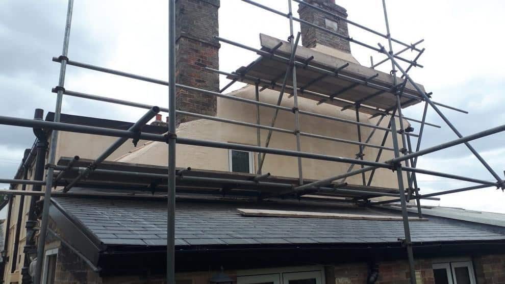 gable end and chimney after exterior painting