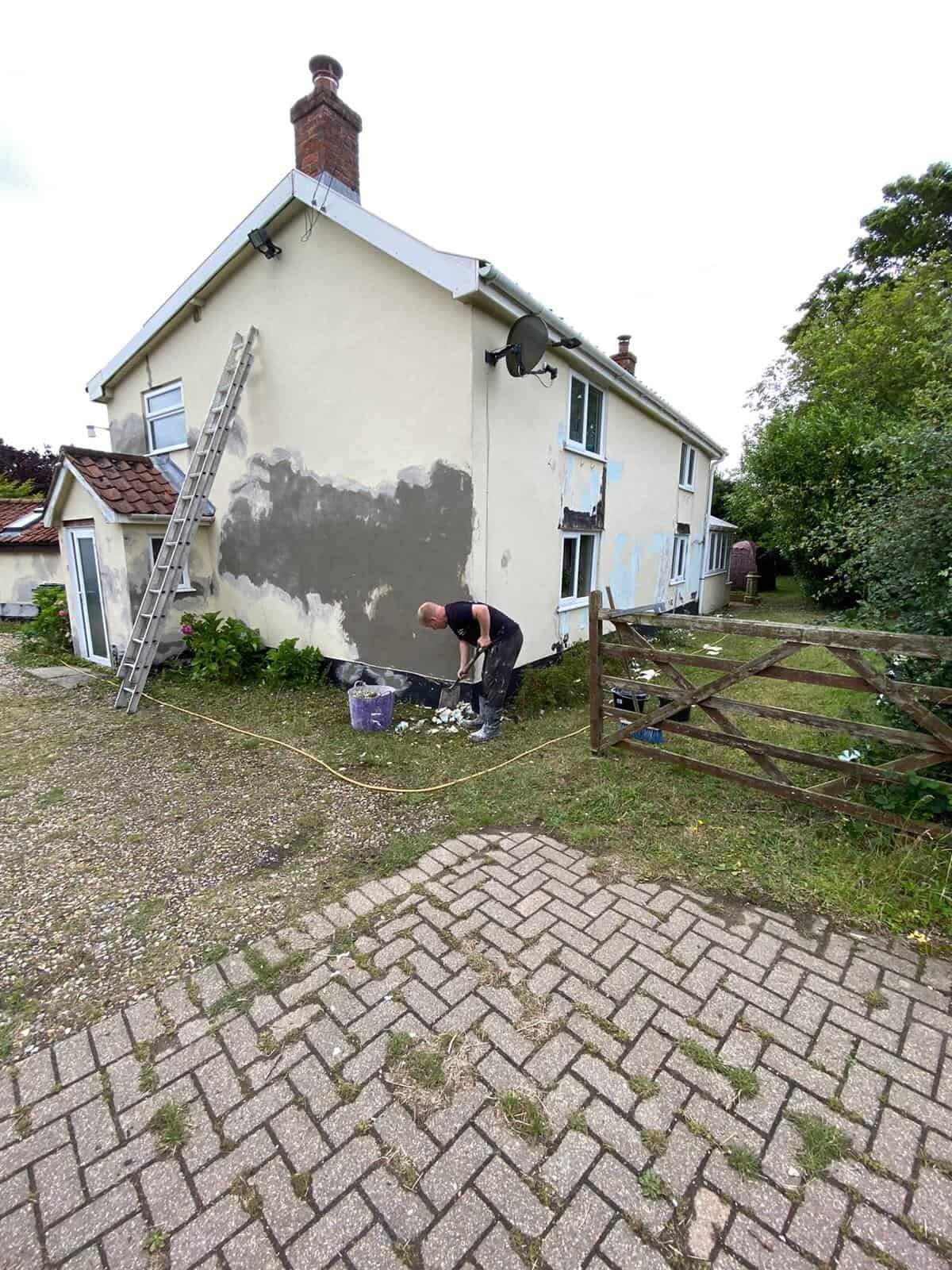 gable end rendering repairs