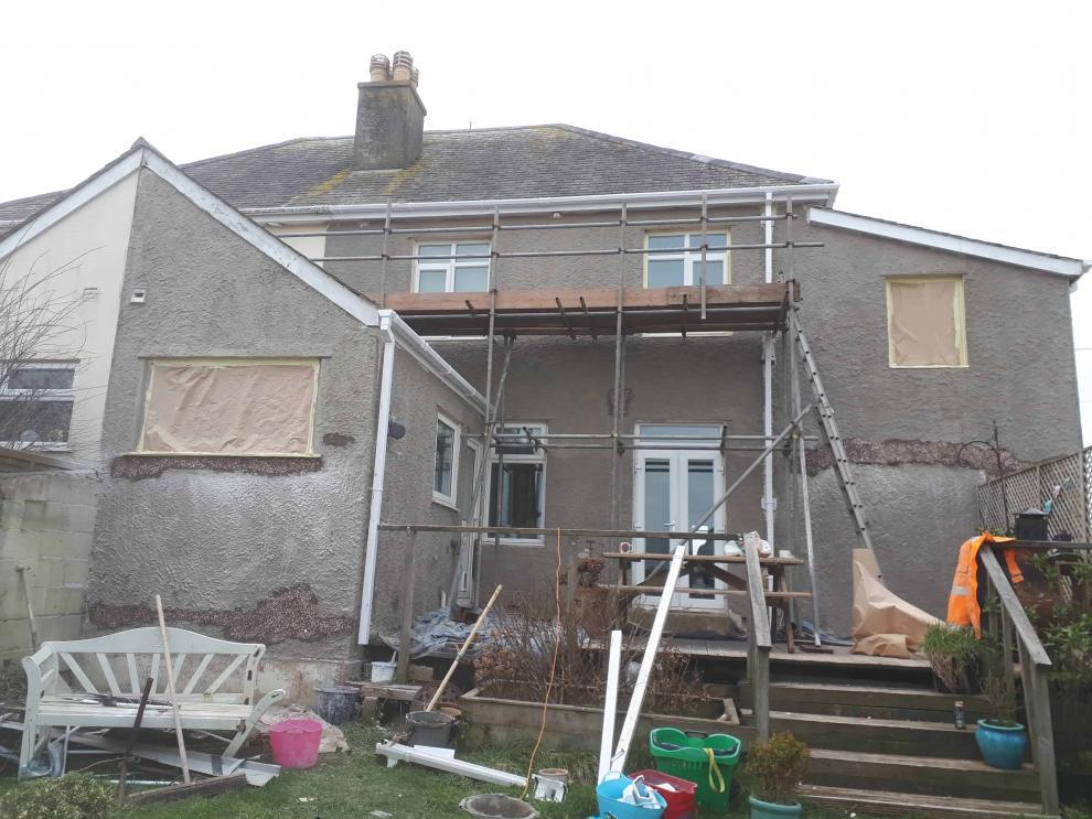 rear of house in Perranporth during repairs