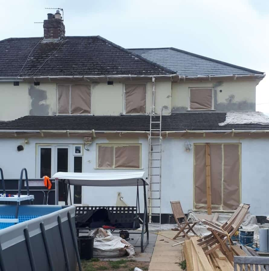 rear of rendered house having primer to the walls