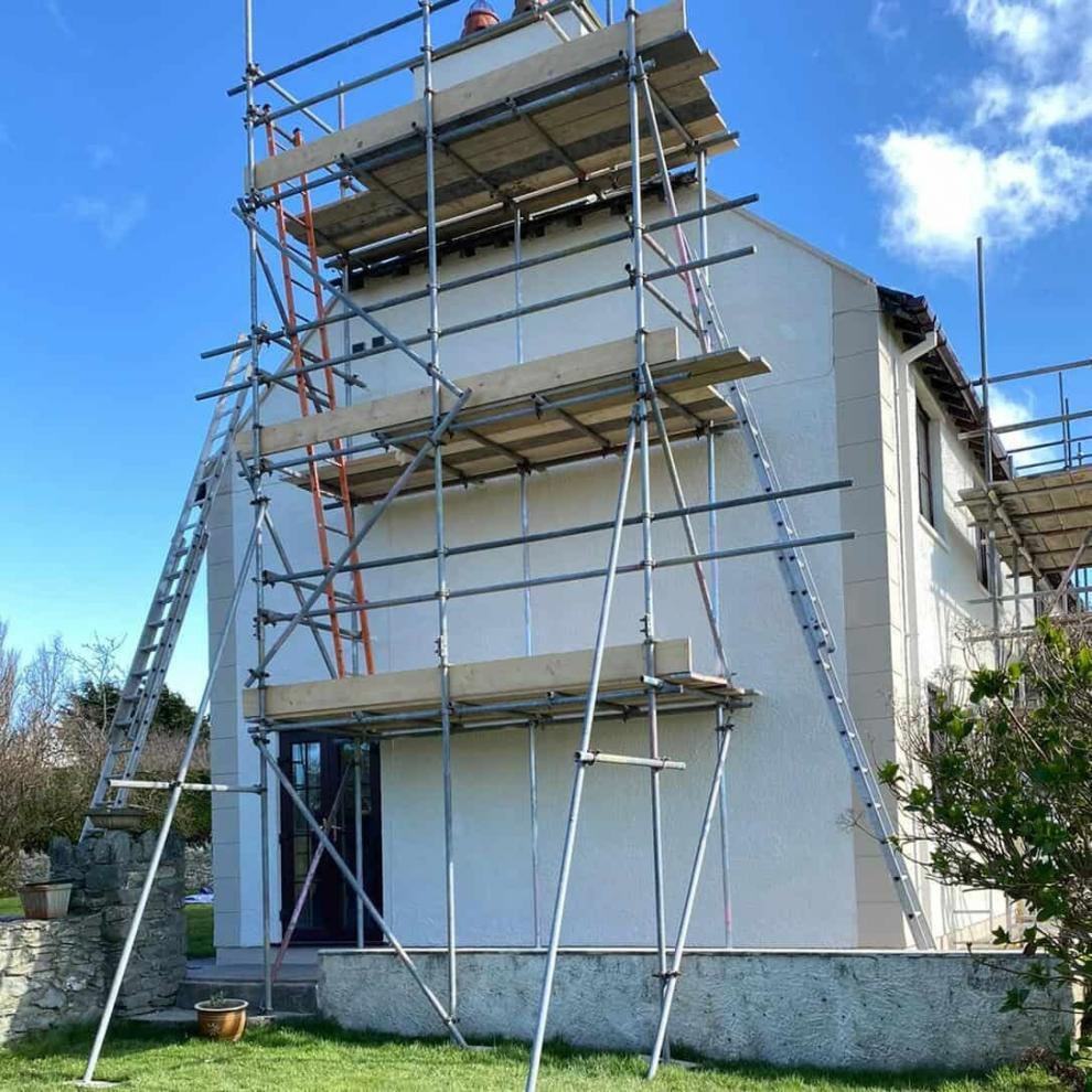 scaffolding was needed to access the chimney