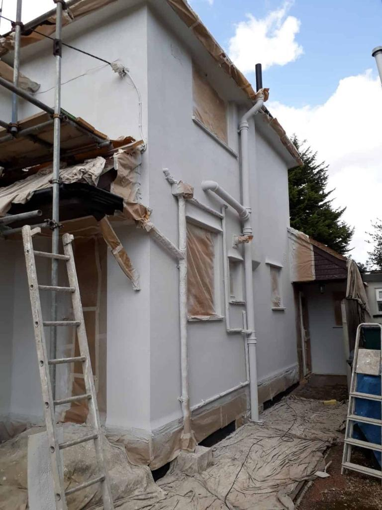 side of house with primer