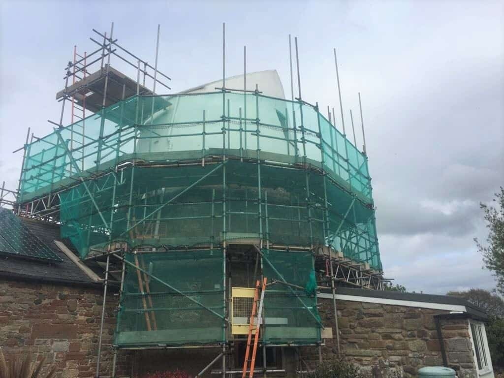 tower with scaffolding