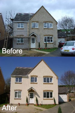 Exterior wall coatings before and after