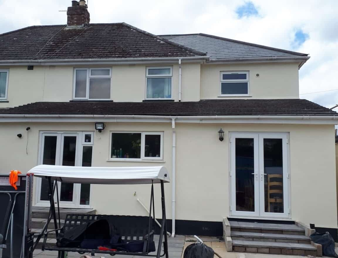 wall coatings newton abbot rear of house after painting